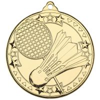 Badminton Tri Star Medal Gold 2in : New 2019