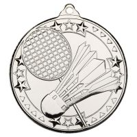 Badminton Tri Star Medal Silver 2in : New 2019