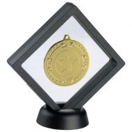 Black|Clear Plastic Medal Box With Stand - 6in