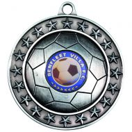 Football Medal Antique Silver 2.75in