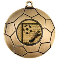 Domed Football Medal Antique Gold 2in