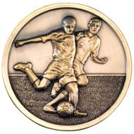 Football Players Medallion Antique Gold 2.75in
