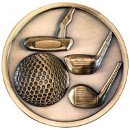 Golf Clubs Medallion Antique Gold 2.75in