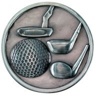 Golf Clubs Medallion Antique Silver 2.75in