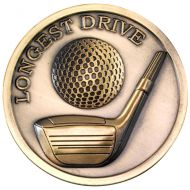 Golf Medallion Antique Gold Longest Drive 2.75in