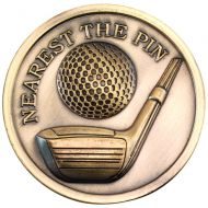 Golf Medallion Antique Gold Nearest The Pin 2.75in
