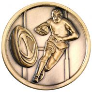 Rugby Medallion Antique Gold 2.75in