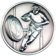 Rugby Medallion Antique Silver 2.75in