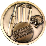 Cricket Medallion Antique Gold 2.75in