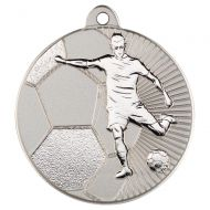 Football Two Colour Medal - Matt Silver/Silver 2in