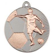 Football Two Colour Medal - Matt Silver/Bronze 2in