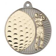 Golf Two Colour Medal - Matt Silver/Gold 2in