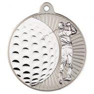 Golf Two Colour Medal - Matt Silver/Silver 2in