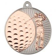 Golf Two Colour Medal - Matt Silver/Bronze 2in