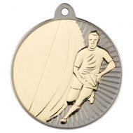 Rugby Two Colour Medal - Matt Silver/Gold 2in