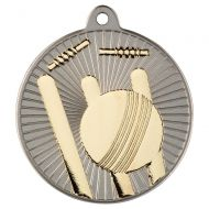 Cricket Two Colour Medal - Matt Silver/Gold 2in