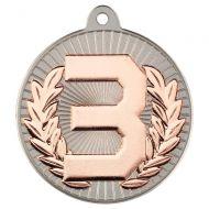 Two Colour Medal - 3rd Matt Silver/Bronze 2in