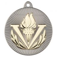 Victory Torch Two Colour Medal - Matt Silver/Gold 2in