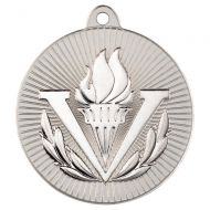 Victory Torch Two Colour Medal - Matt Silver/Silver 2in
