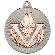 Victory Torch Two Colour Medal - Matt Silver/Bronze 2in