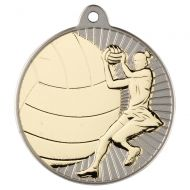 Netball Two Colour Medal - Matt Silver/Gold 2in