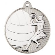 Netball Two Colour Medal - Matt Silver/Silver 2in