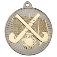 Hockey Two Colour Medal - Matt Silver/Gold 2in