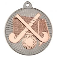 Hockey Two Colour Medal - Matt Silver/Bronze 2in