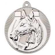 Horse Two Colour Medal - Matt Silver/Silver 2in