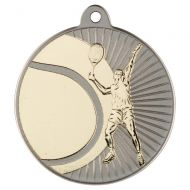 Tennis Two Colour Medal - Matt Silver/Gold 2in