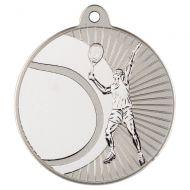 Tennis Two Colour Medal - Matt Silver/Silver 2in
