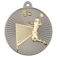 Badminton Two Colour Medal - Matt Silver/Gold 2in