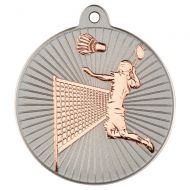 Badminton Two Colour Medal - Matt Silver/Bronze 2in