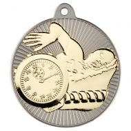 Swimming Two Colour Medal - Matt Silver/Gold 2in