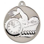 Swimming Two Colour Medal - Matt Silver/Silver 2in