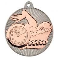 Swimming Two Colour Medal - Matt Silver/Bronze 2in