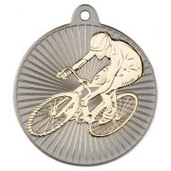 Cycling Two Colour Medal - Matt Silver/Gold 2in