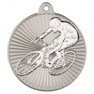Cycling Two Colour Medal - Matt Silver/Silver 2in