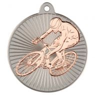 Cycling Two Colour Medal - Matt Silver/Bronze 2in