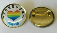 FREEDOM LOCKDOWN Lapel Pin Badge 25mm 1 INCH NHS Rainbow 10% Donation UK