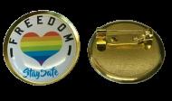 FREEDOM LOCKDOWN Lapel Pin Badge 25mm 1 INCH NHS Rainbow UK