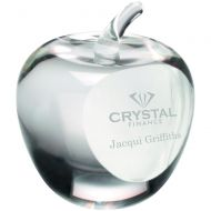Clear Glass Apple Paperweight Presentation Case 3.5in