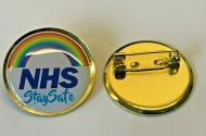 NHS Rainbow Stay Safe Lapel Safety Pin Badge Nurse Doctor Key Workers