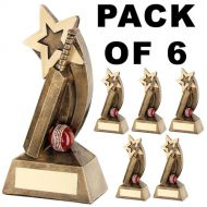 Pack Of 6 Cricket Trophy Bat and Ball with Shooting Start Award- 5in FREE Engraving
