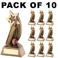 Pack Of 10 Cricket Trophy Bat and Ball with Shooting Start Award- 5in FREE Engraving