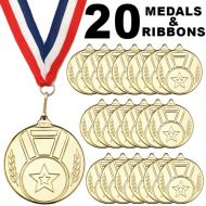 Pack 20 x 50mm Junior Sports Gold Medals with Red White and Blue Ribbons Kids Party