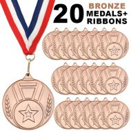 Pack 20 x 50mm Junior Sports Bronze Medals with Red White and Blue Ribbons Kids Party