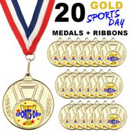 Pack 20 x 50mm Sports Day Gold Metal Medals with Red White and Blue Ribbons Children