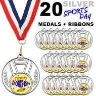 Pack 20 x 50mm Sports Day Silver Metal Medals with Red White and Blue Ribbons Children