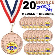 Pack 20 x 50mm Sports Day Bronze Metal Medals with Red White and Blue Ribbons Children
